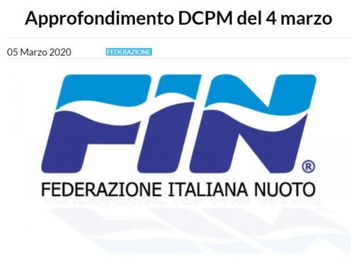 Interpretazioni della FIN sul DPCM del 4 marzo